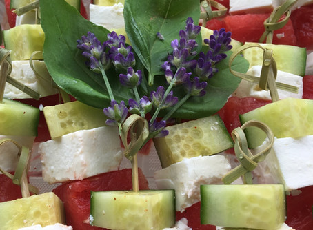 Chili Lime Watermelon, Cucumber, and Feta Skewers