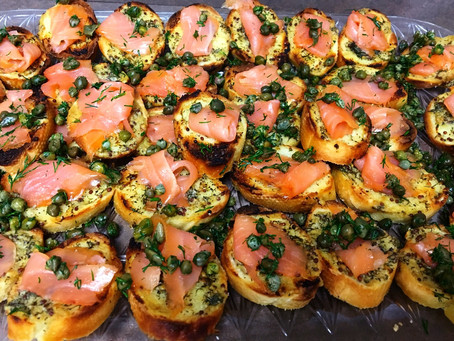 Smoked Salmon Crostini with Mustard, Capers and Dill