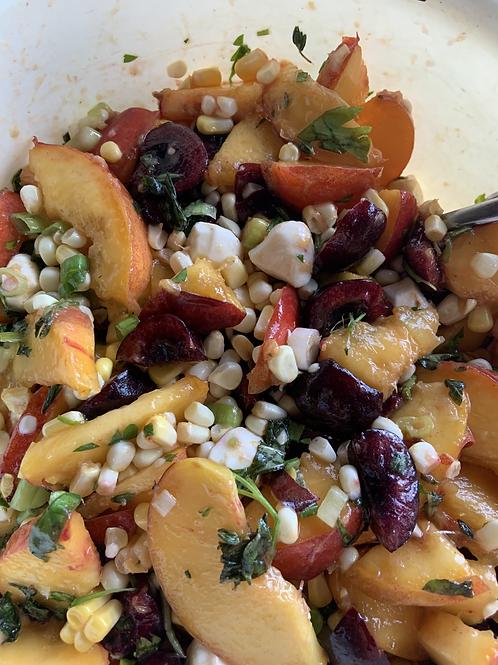 Corn, peach, and herb salad (add shrimp)