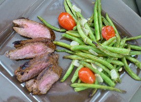 Grilled London Broil with Roasted Green Beans and Grape Tomatoes