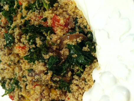 Brown Butter Quinoa Salad with Caramelized Onions and Kale