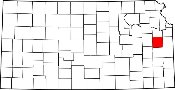 Map of Kansas showing location of Franklin County