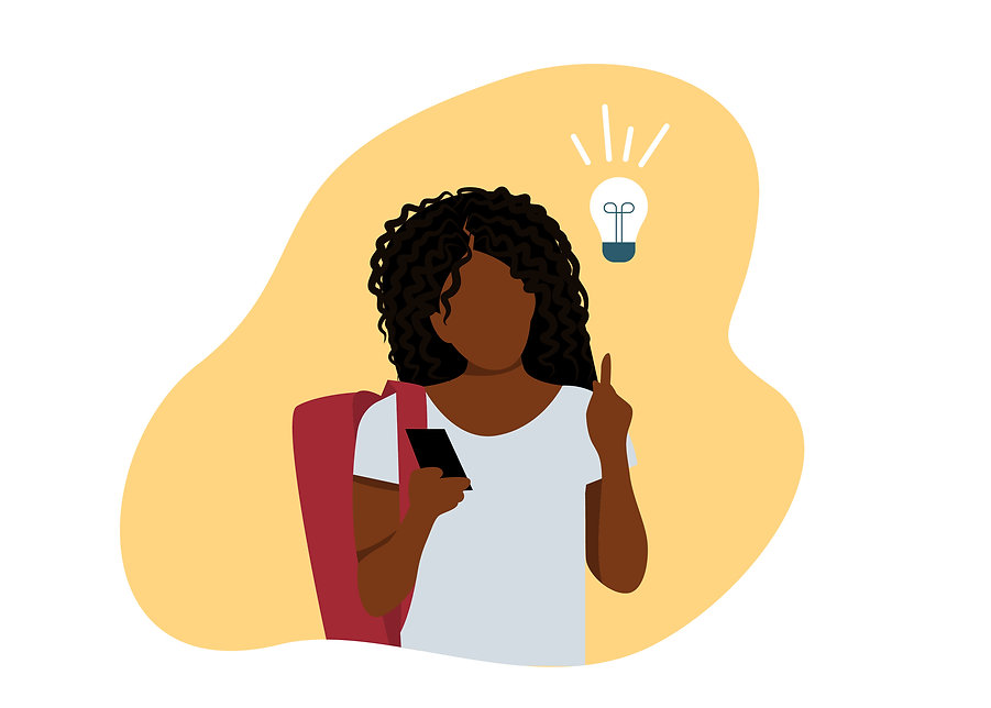 Young Black Female Student with an Idea0