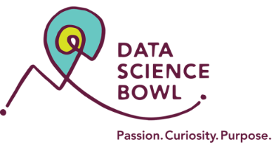 Logo for Data Science Bowl with the text Passion, Curiosity, and Purpose.  The artwork is abstract, purple and teal, showing an abstract entity in motion.
