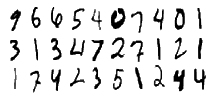 Three rows and 10 columns of hand-drawn digits