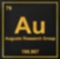 "Logo forAuguste Research Group.  Looks like the ""Au"", or Gold, element block on a Periodic Table of Elements.  Includes the text ""Au"", the text Auguste Research Group,the text 79 for the atomic numbe, the text 196.967 for the atomic weight, with text in a brushed-gold font in a thin gold square outline within a black square that provides background for the entire logo."