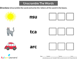 English/Language Arts worksheets for individuals with special needs including those with autism and/or related disorders.  Kindergarten to Grade 3. INTERACTIVE WORKSHEET