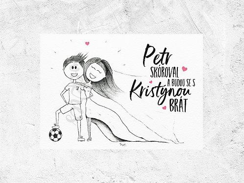 Svatební oznámení - 40 ks Fotbalová láska