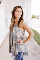 Faded Moss Washed Distressed Tank
