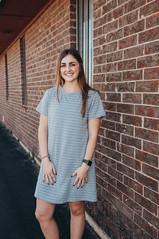 Grey & White Striped Dress