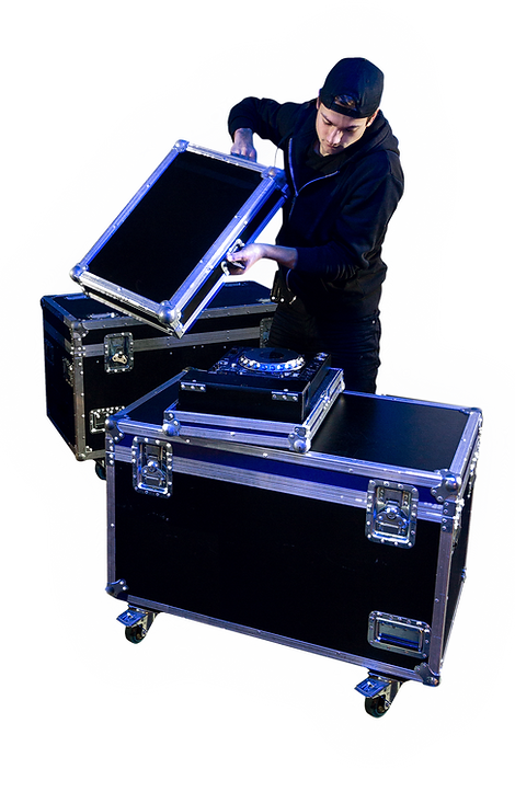 A stagehand opens a road case.