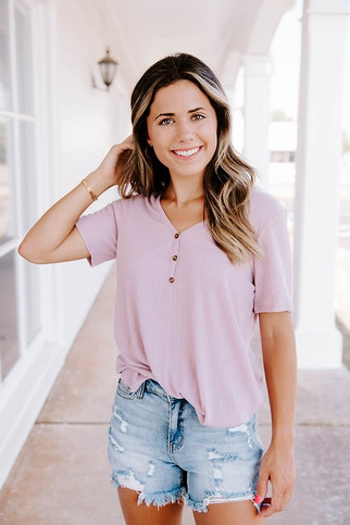 Lilac Short-Sleeve Button-Up Top
