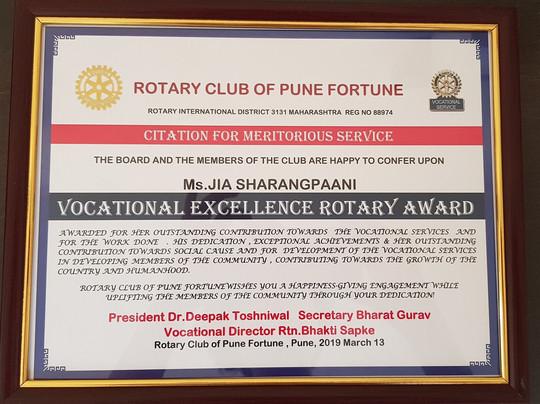 Award by Rotary