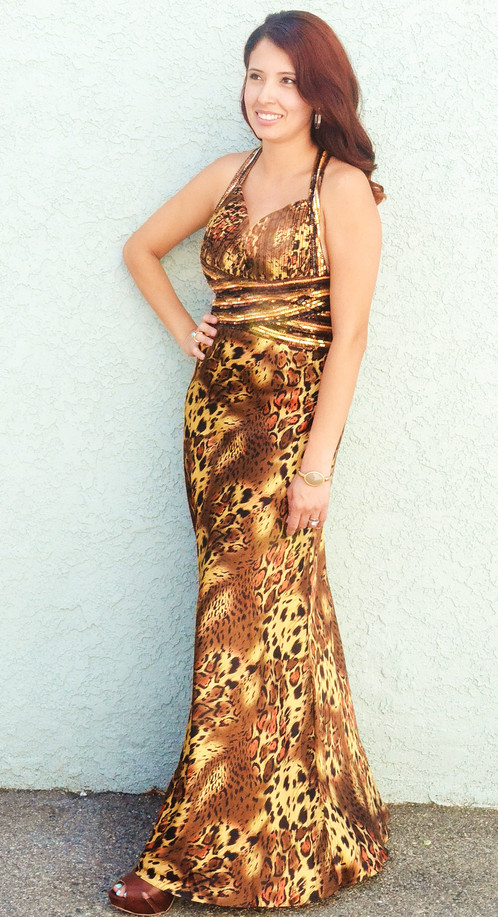 Leopard Print Evening Gown