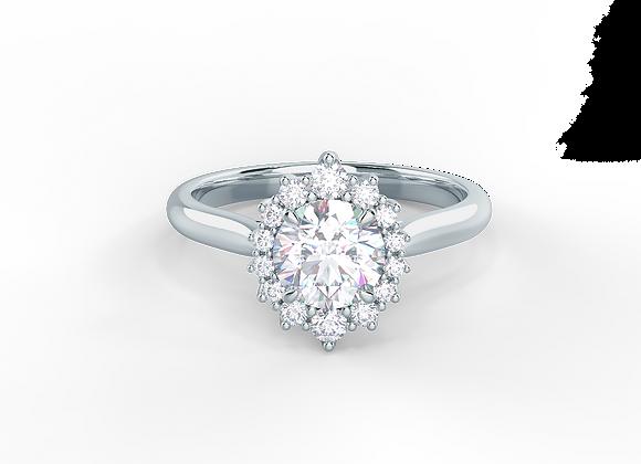Diamond halo Ring , Moissanite Center