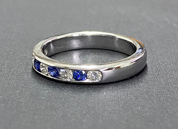 White gold sapphire and  diamond wedding band