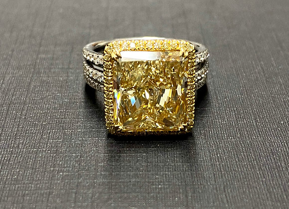 9ct Radiant Fancy Yellow Diamond ring