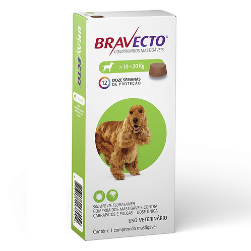 Bravecto 500mg 10 a 20kg Antipulgas e Carrapatos