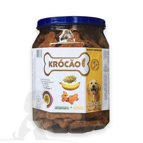 Petisco Biscoito Krócão Banana E Aveia 1Kg Para Cães
