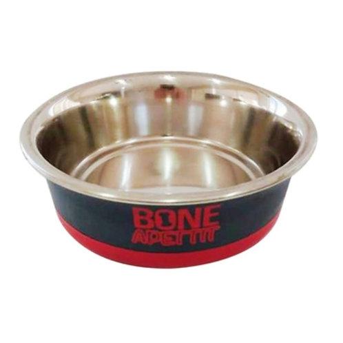 Comedouro Luxo Inox Para Cachorro Bone Apettit Vermelho