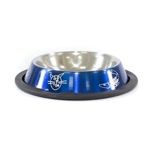 Comedouro aço inox azul para gatos Jambo Pet