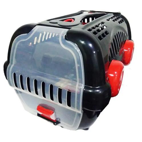 Caixa de Transporte Pet Luxo - Preto e Vermelho Grande