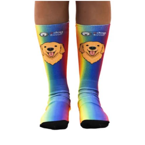 Meia Estampa Cachorro Rainbow
