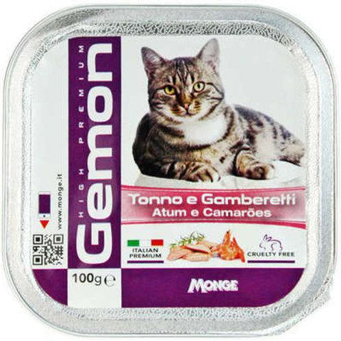 Ração Úmida Gemon Patê de Atum com Camarões para Gatos 6 unidades