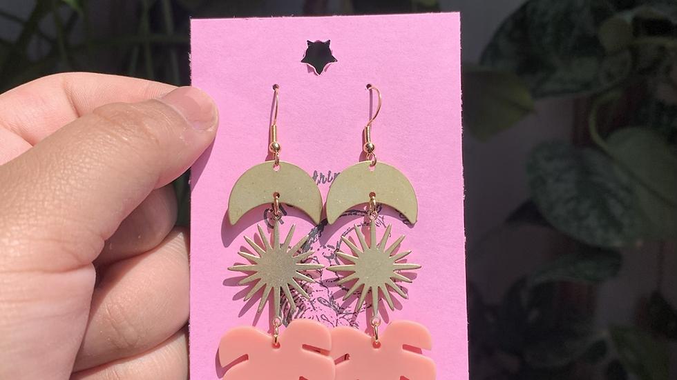Pink Monstera Earrings