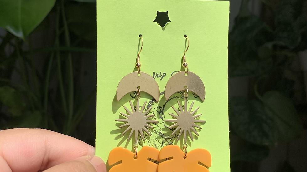 Mustard Monstera Earrings