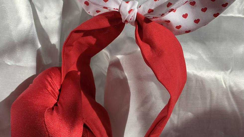 Red hearts white headband