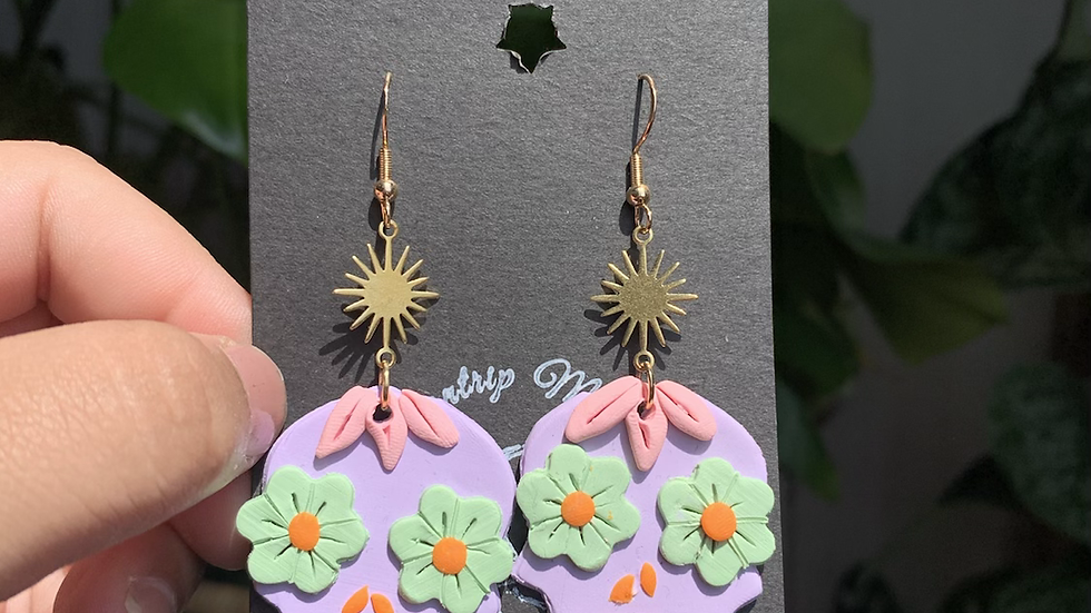 Sugar Calavera earrings| purple with mint