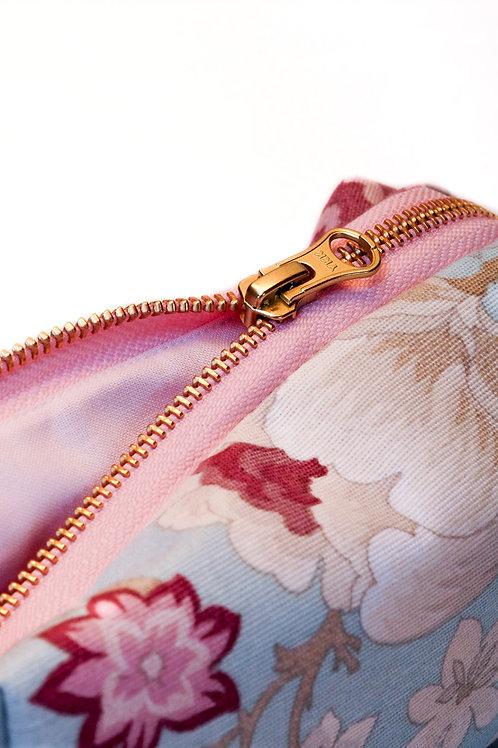Sminkeveske, Lyseblå/rosa blomstrete