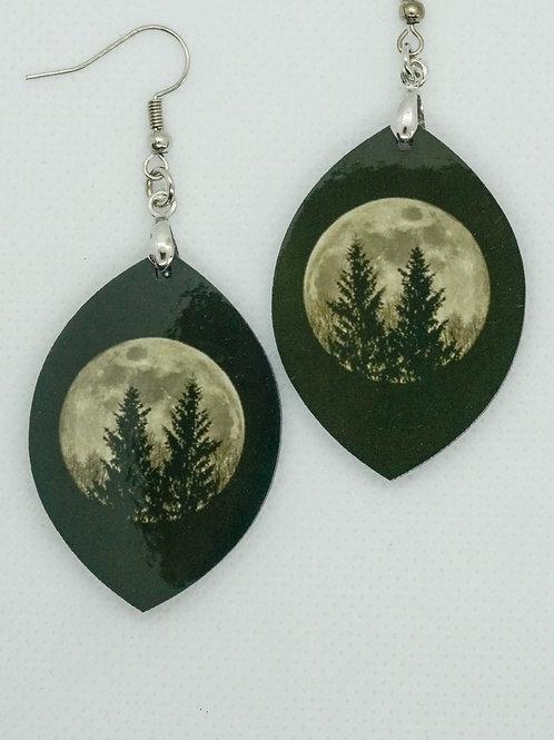 Øredobber - Måne og trær