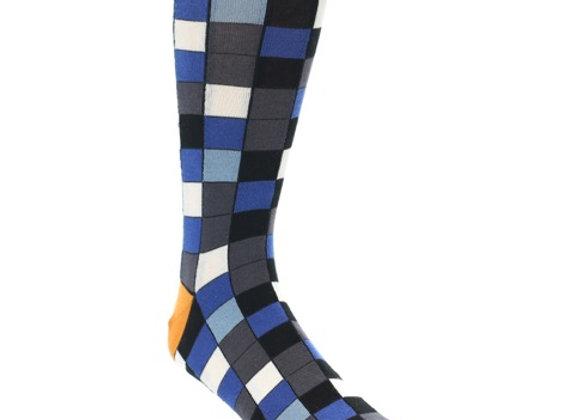 Blue Black Grey White Checkered Socks