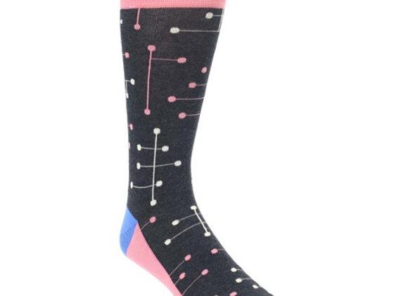 Pink Geometric Dot Line Socks