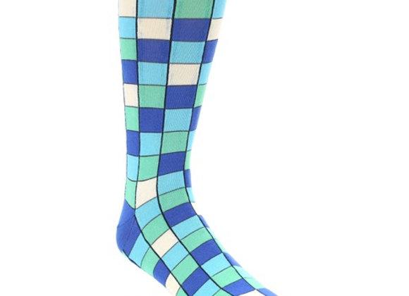 Blue Teal Checkered Socks