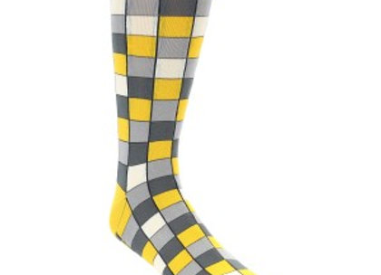 Yellow Grey Checkered Socks