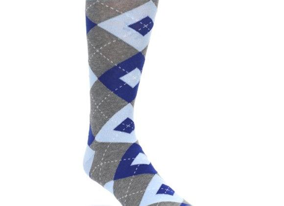 Ice Blue Cobalt Grey Argyle Socks