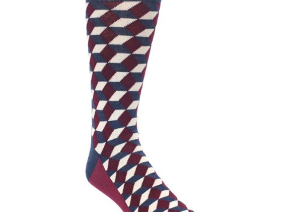 Burgundy Beeline Optical Socks