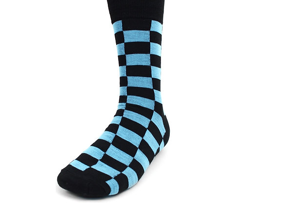 Blue and Black Checkered Socks
