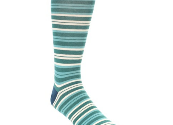 Teal Green Striped Socks