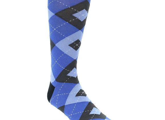 Blue Grey and Black Argyle Mens Socks