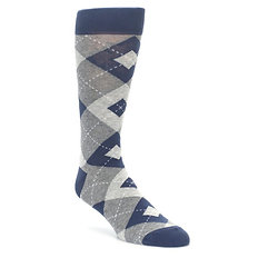 Grey and Navy Argyle Mens Socks