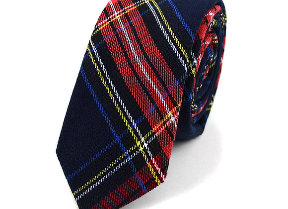 Navy and Red Flannel Tie