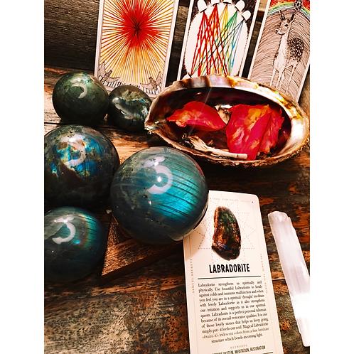 Labradorite spheres to strengthen intuition
