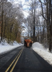 Plowing along Crusher Road.