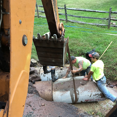 Culvert repair on Mullen Hollow Road.