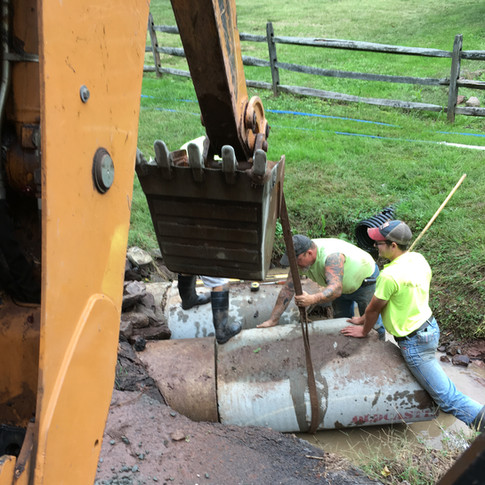 Culvert repair on Mullen Hollow Road.