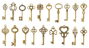 Set of vintage golden skeleton keys isol